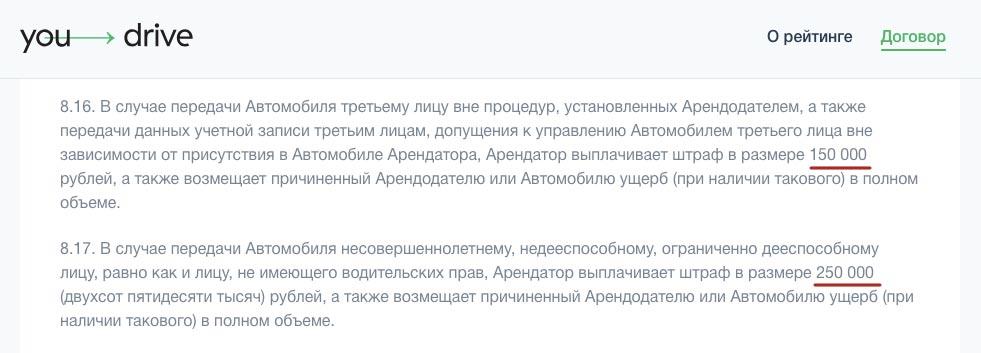 Договор You Drive для Санкт Петербурга